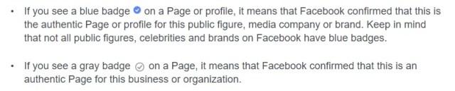 Facebook verified badge explanation