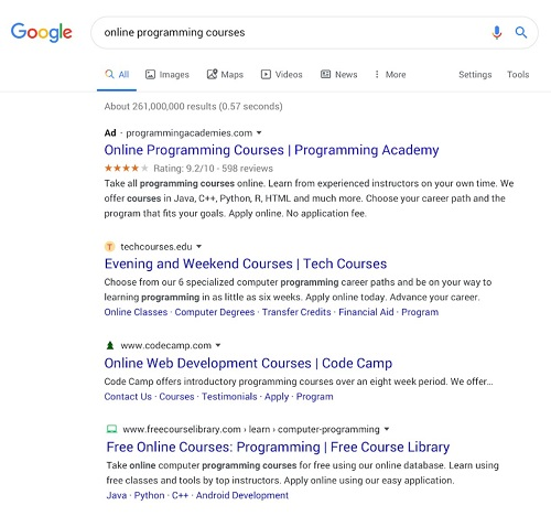 Google web queries new format