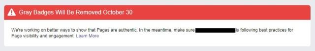 Facebook gray badge removal