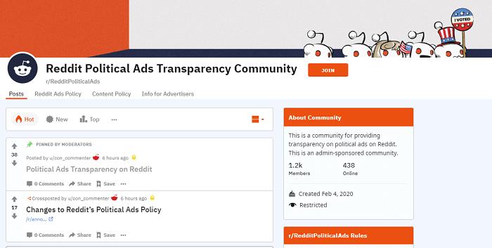 Reddit political ads