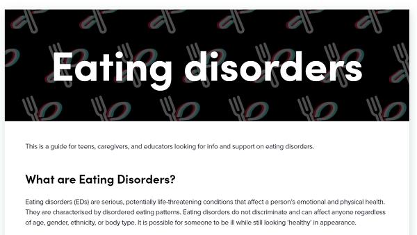 TikTok Eating Disorder guide