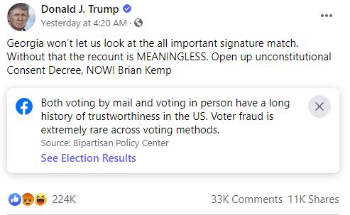 Trump Facebook post example