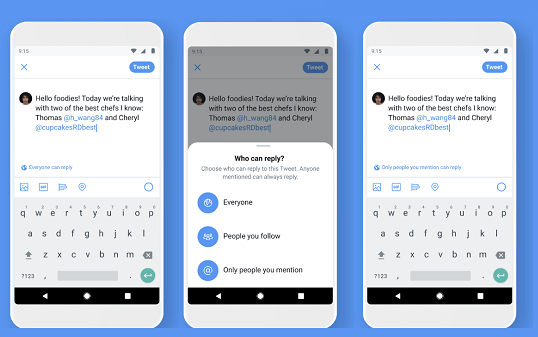 Twitter reply options