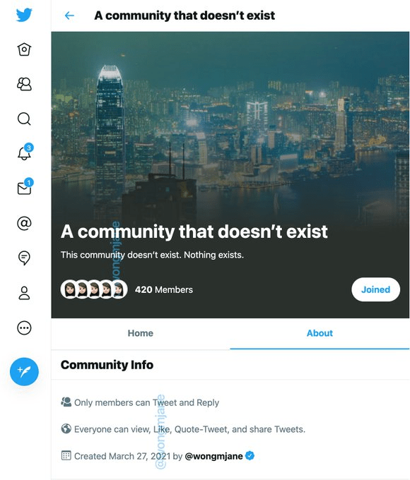 Twitter Communities creation example