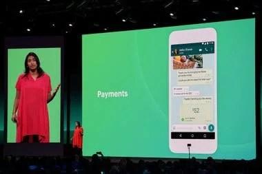 Una vista de la pantalla del chat con la función WhatsApp Pay, el servicio de pagos y transferencias que ya funciona en India