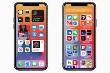 Los widgets para iOS 14 (izq) y la biblioteca de aplicaciones (derecha)