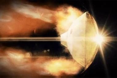 Una representación gráfica del descenso de la cápsula protectora del rover a Marte, en un proceso que los ingenieros denominan los 7 minutos de terror