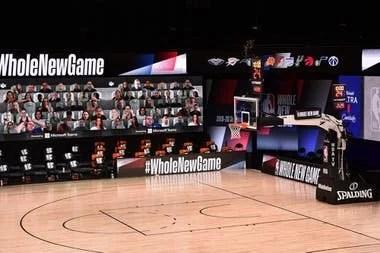 Así se verán las gradas virtuales con fanáticos conectados con la función Juntos de Microsoft Teams durante los partidos de la NBA