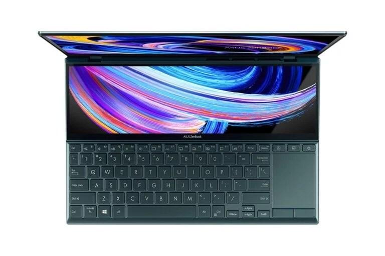 Una vista superior de la ASUS ZenBook Duo 14 UX482, con un teclado y touchpad ubicado en la parte inferior del equipo