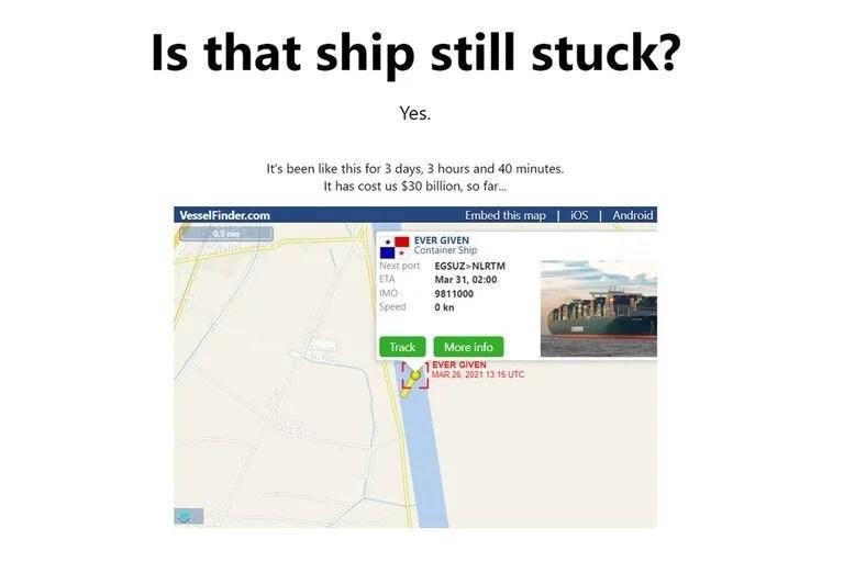 El sitio contabiliza el tiempo que lleva atascado el buque carguero Ever Given y el costo económico que representa el incidente
