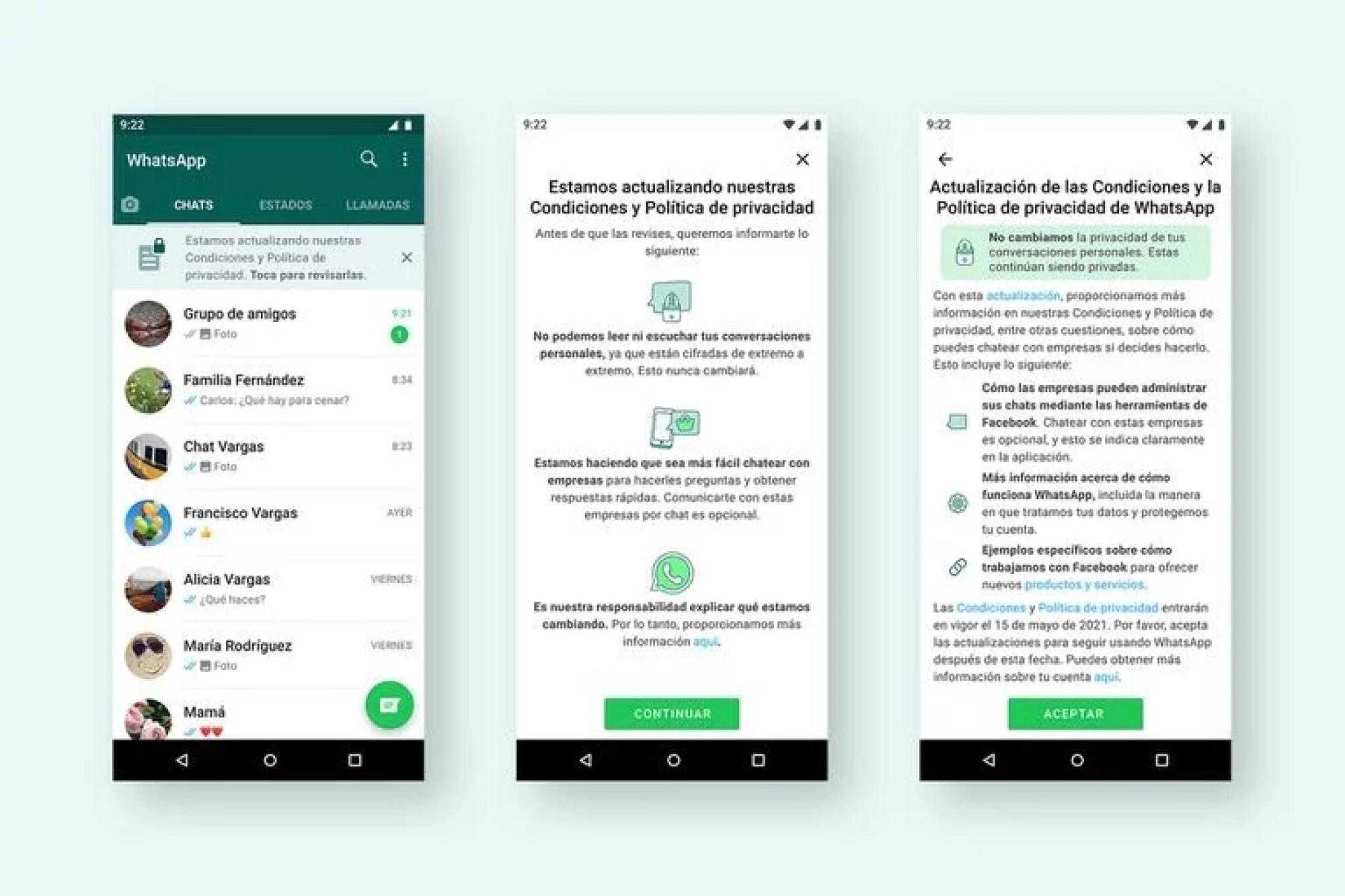 Algunas de las pantallas que mostrará WhatsApp durante la próxima semana para que los usuarios acepten las nuevas condiciones de uso del servicio de mensajería móvil