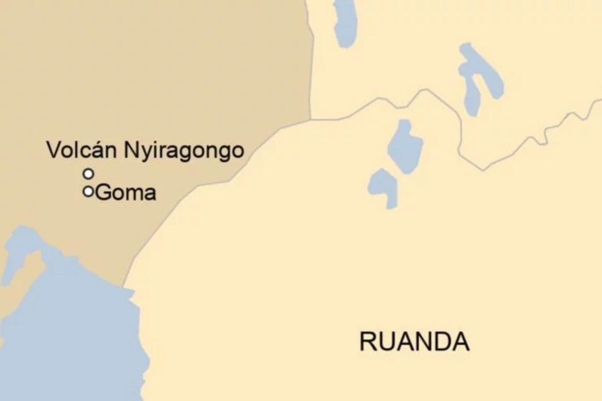 Esta es la zona donde está ubicado el volcán Nyiragongo