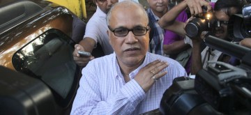 Ribandar: Goa legislator Digambar Kamat arrives to appear before Goa Crime Branch in connection with the Louis Berger bribery case at Ribandar in Goa on July 29, 2015. (Photo: IANS)