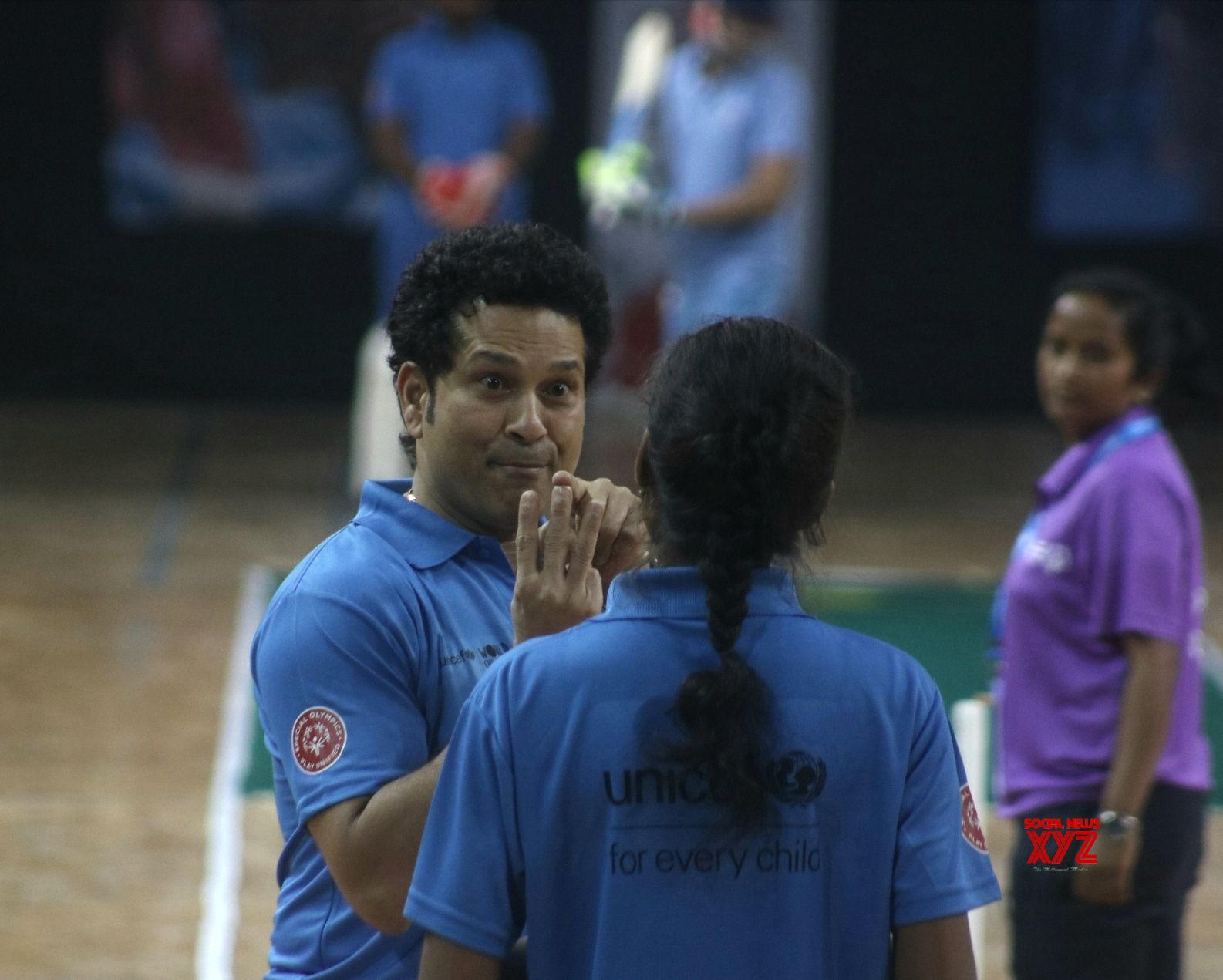 new delhi: sachin tendulkar plays cricket with children - social