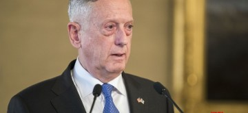 HELSINKI, Nov. 7, 2017 (Xinhua) -- U.S. Defense Secretary James Mattis speaks during a press conference with Finnish President Sauli Niinisto (not pictured) at the Presidential Palace in Helsinki Nov. 6, 2017. James Mattis on Monday lavished praise on Finland, claiming the Nordic country as a U.S. friend. (Xinhua/Matti Matikainen/IANS)