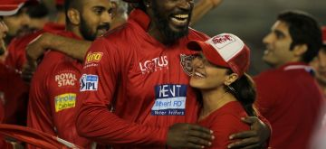 Mohali: Kings XI Punjab co-owner Preity Zinta celebrates with Chris Gayle after winning the IPL 2018 match against Chennai Super Kings at the Punjab Cricket Association IS Bindra Stadium in Mohali on April 15, 2018. (Photo: Surjeet Yadav/IANS)