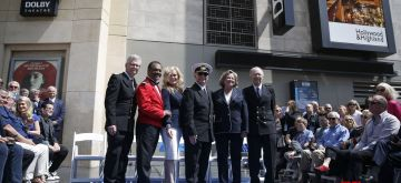 """LOS ANGELES, May 11, 2018 (Xinhua) -- The original cast of the popular television series """"The Love Boat"""" attend the star dedication ceremony at the Hollywood Walk of Fame in Los Angeles, the United States, May 10, 2018. Princess Cruises and the original cast of """"The Love Boat"""" received a Hollywood Walk of Fame Honorary Star Plaque here on Thursday. (Xinhua/Li Ying/IANS)"""