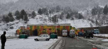 Banihal: Snowfall at Jawahar tunnel or Banihal Tunnel on Srinagar-Jammu National Highway in Jammu and Kashmir on Jan 4, 2017. (Photo: IANS)