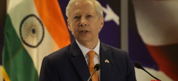 New Delhi: US Ambassador to India Kenneth I. Juster addresses during the 242nd anniversary celebrations of the Independence of the United States of America; in New Delhi on Aug 2, 2018. (Photo: Amlan Paliwal/IANS)
