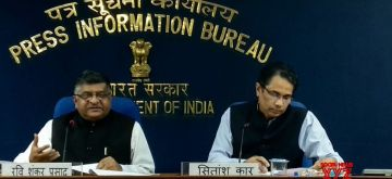 New Delhi: Union Electronics and Information Technology and Law and Justice Minister Ravi Shankar Prasad addresses a press conference, in New Delhi on Aug 9, 2018. (Photo: IANS/PIB)