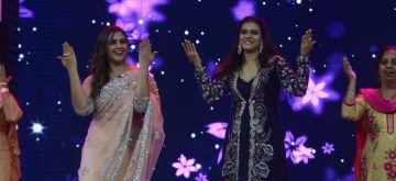 Mumbai: Actresses Kajol and Huma Qureshi on the sets of show India's Best Dramebaaz Season 2 in Mumbai on Aug 13, 2018. (Photo: IANS)