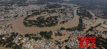 Kerala: An aerial view of the flood-hit Kerala, on Aug 16, 2018. Even as the deadly deluge in Kerala continued to take a toll of life and property across the state -- with the number of deaths rising to 87 on Thursday -- the Centre has deployed all three wings of the armed forces in a massive rescue operation that is currently underway.(Photo: IANS/DPRO)
