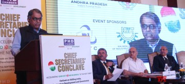 """New Delhi: Cabinet Secretary PK Sinha addresses during """"Chief Secretaries Conclave"""" organised by PHD chambers in New Delhi on Sept 17, 2016. (Photo: IANS)"""