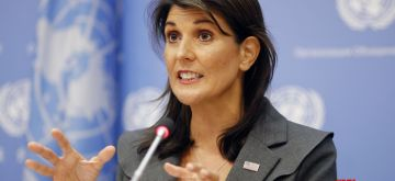 UNITED NATIONS, Sept. 4, 2018 (Xinhua) -- U.S. Ambassador to the United Nations Nikki Haley, whose country is taking over the presidency of the Security Council for September, briefs the press at the UN headquarters in New York, Sept. 4, 2018. The UN Security Council will discuss the situation in Idlib, the last major rebel stronghold in Syria, on Friday, said Nikki Haley. (Xinhua/Li Muzi/IANS)