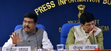 New Delhi: Union Railways Minister Piyush Goyal addresses a press conference in New Delhi on Sept 12, 2018. Also seen Union Petroleum Minister Dharmendra Pradhan and Agriculture Minister Radha Mohan Singh. (Photo: IANS)