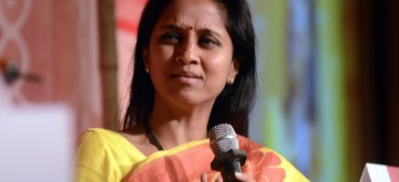 NCP Party leader Supriya Sule during the `Panchayat Aaj Tak` a programme organised by Aaj Tak in Mumbai on Sept 13, 2014. A political conclave with political leaders, bureaucrats, decision makers , Ministers and MPs, where they`ll discuss, talk and debate on upcoming General Election and issues in current politics. (Photo: Sandeep Mahankal/IANS)