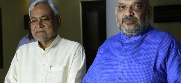 New Delhi: Bihar Chief Minister Nitish Kumar and BJP chief Amit Shah addresse a press conference in New Delhi on Oct 26, 2018. (Photo: IANS)