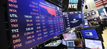 NEW YORK, Dec. 5, 2018 (Xinhua) -- Traders work at the New York Stock Exchange in New York, the United States, Dec. 4, 2018. U.S. stocks plunged on Tuesday, with all three major indices erasing more than 3 percent, amid worries over inverted yield curve signaling a possible economic slowdown. The Dow Jones Industrial Average decreased 799.36 points, or 3.10 percent, to 25,027.07. The S&P 500 decreased 90.31 points, or 3.24 percent, to 2,700.06. The Nasdaq Composite Index fell 283.09 points, or 3.80 percent, to 7,158.43. (Xinhua/Wang Ying)/IANS)