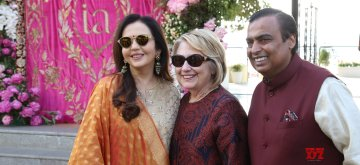 Udaipur: Reliance Industries Chairman Mukesh Ambani and his wife Nita Ambani receive Former First Lady and former US Secretary of State Hillary Clinton on her arrival at the pre-wedding function of Isha Ambani and Anand Piramal in Udaipur, Rajasthan on Dec 8, 2018. (Photo: IANS)