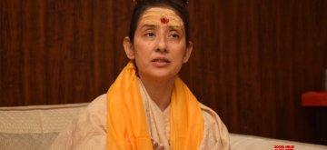 Varanasi: Actress Manisha Koirala talks to the media after visiting Kashi Vishwanath Temple, in Varanasi on Dec 8, 2018. (Photo: IANS)