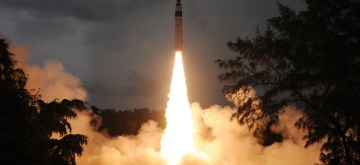 In this photo released by India's Defence Research and Development Organisation (DRDO), India's nuclear-capable missile Agni-V is test fired in Wheelar's Island, off the coast of Odisha, India, Sunday, Sept. 15, 2013. India on Sunday successfully test-fired for the second time the missile that can strike the major Chinese cities of Beijing and Shanghai, officials said. Ravi Gupta, a spokesman for the Defence Research and Development Organisation, said the latest test of the the missile a step closer to being inducted into India's arsenal at some point in 2014 or 2015. (Photo: DRDO /IANS)
