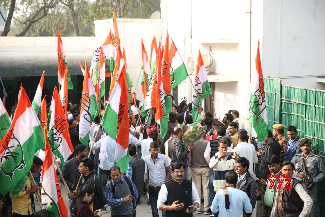 Jaipur: Party workers celebrate at Congress party office as Congress leads in the Rajasthan assembly elections in Jaipur on Dec 11, 2018. (Photo: IANS)