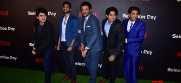"Mumbai: Anil Kapoor with the star cast of Netflix upcoming ueries ""Selection Day"" at the red carpet in Mumbai on Dec 18, 2018. (Photo: IANS)"