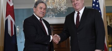 WASHINGTON, Dec. 17, 2018 (Xinhua) -- U.S. Secretary of State Mike Pompeo (R) shakes hands with New Zealand's Deputy Prime Minister and Minister of Foreign Affairs Winston Peters during their meeting at U.S. Department of State in Washington D.C., the United States, on Dec. 17, 2018. Mike Pompeo met with Winston Peters here on Monday, discussing bilateral ties and issues of mutual concern, said the U.S. State Department. (Xinhua/Liu Jie/IANS)