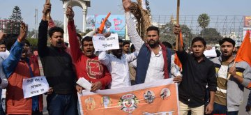 Patna: Members of Sawarn Sena stage a demonstration to press for reservation in jobs in Patna on Dec 25, 2018. (Photo: IANS)