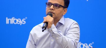 Bengaluru: Infosys Interim CFO Jayesh Sanghrajka addresses during a press conference to announce the financial results for the third quarter of fiscal 2018-19, in Bengaluru on Jan 11, 2019. (Photo: IANS)