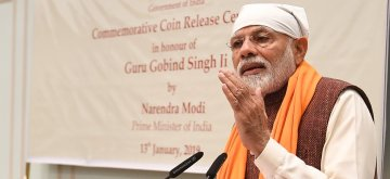 New Delhi: Prime Minister Narendra Modi addresses at the release of a commemorative coin to mark the birth anniversary of tenth Sikh master, Guru Gobind Singh in New Delhi, on Jan 13, 2019. (Photo: IANS/PIB)