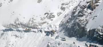 Leh: Rescue operations underway after an avalanche hit Leh district of Jammu and Kashmir's Ladakh region trapping 10 people, on Jan 18, 2019. Four dead bodies were recovered from the debris. Rescue teams of police, Border Roads Organisation and Jammu and Kashmir Disaster Management Force are carrying out the rescue operations. (Photo: IANS)