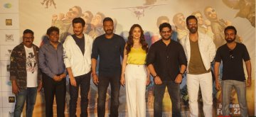 "Mumbai: Actors (L-R) Vijay Patkar, Johnny Lever, Anil Kapoor, Ajay Devgn, Madhuri Dixit, Arshad Warsi, Javed Jaffrey and Pitobash Tripathy at the trailer launch of upcoming film ""Total Dhamaal"" in Mumbai, on Jan 21, 2019. (Photo: IANS)"