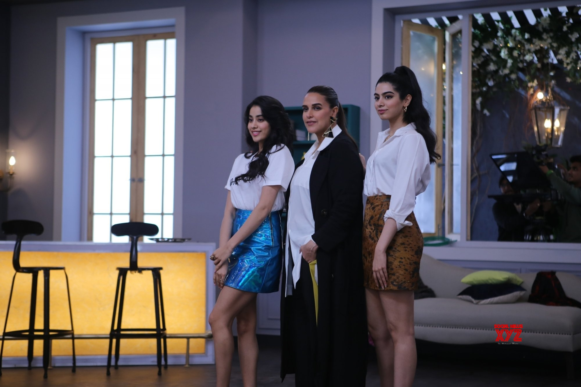 "Mumbai: Neha Dhupia with Janhavi and Khushi on the sets of ""BFFs with Vogue"" #Gallery"
