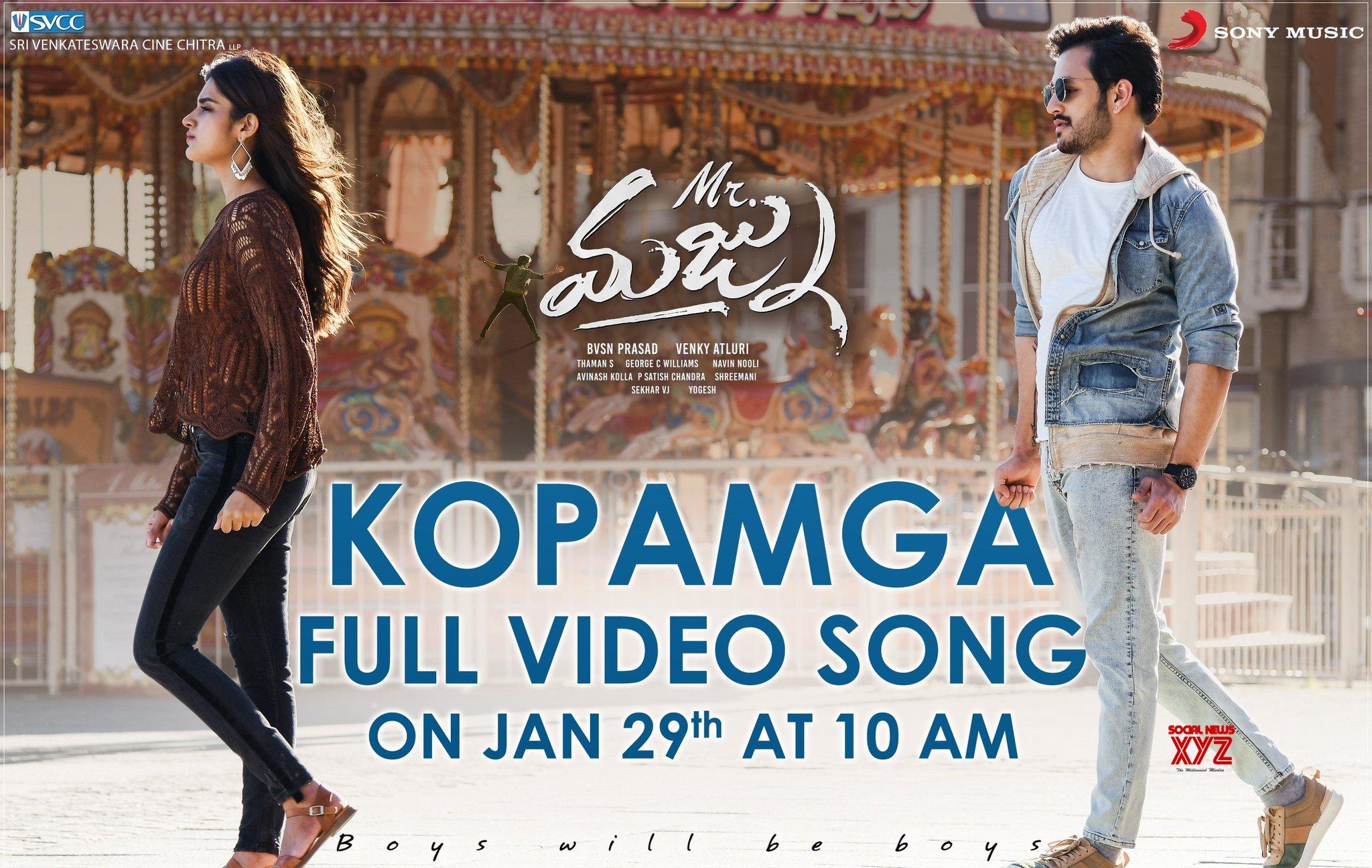 Kopamga Full Video Song From Mr.Majnu Will Be Out At 10 AM Tomorrow