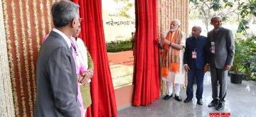 Surat: Prime Minister Narendra Modi unveils the plaque to inaugurate the Rasilaben Sevantilal Shah Venus Hospital in Gujarat's Surat, on Jan 30, 2019. (Photo: IANS/PIB)