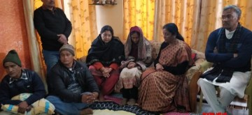 Dehradun: Defence Minister Nirmala Sitharaman meets the family members of Squadron Leader Siddharth Negi who died when a newly-upgraded Mirage 2000 fighter crashed at the HAL airport on Bengaluru; in Dehradun, on Feb 5, 2019. Also seen Uttarkhand Chief Minister Trivendra Singh Rawat. (Photo: IANS/DPRO)