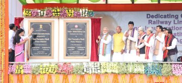 Agartala: Prime Minister Narendra Modi unveils the plague to inaugurate Garjee-Belonia railway line in Agartala, on Feb 9, 2019. Also seen Tripura Governor Kaptan Singh Solanki and Chief Minister Biplab Kumar Deb. (Photo: IANS)