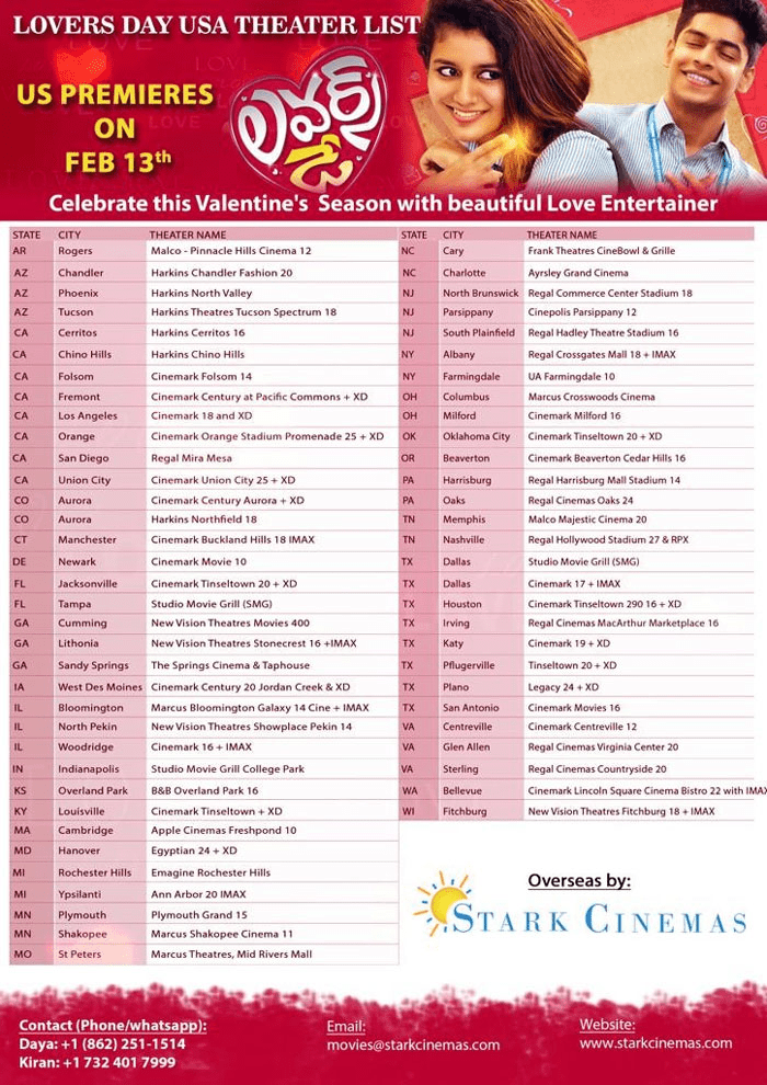 Lovers Day Movie USA Theaters List