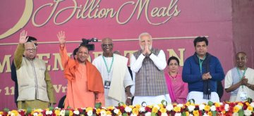 "Vrindavan: Prime Minister Narendra Modi, Uttar Pradesh Chief Minister Yogi Adityanath and others during a programme organsied to mark the serving of ""3rd billionth meal"" by Akshaya Patra Foundation at Vrindavan Chandrodaya Mandir on Feb. 11, 2019. (Photo: IANS)"